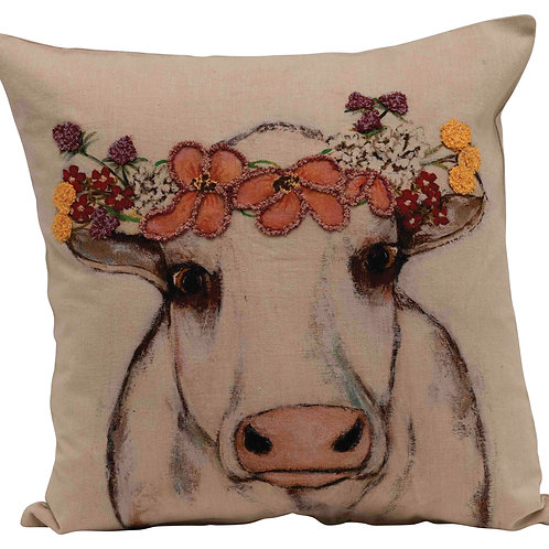 Square Cotton Pillow with Cow Image