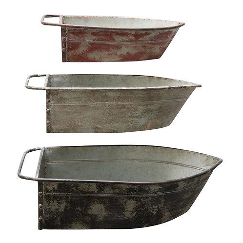 Metal Boat Shaped Wall Decor/Shelves (Set of 3 Colors/Sizes)
