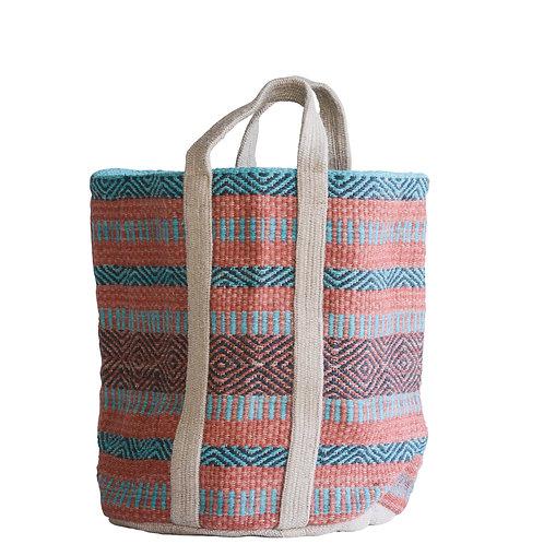 Jute Tote Bag in Coral & Teal Stripes