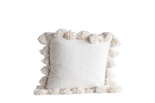 Luxurious Cream Square Cotton Woven Slub Pillow with Tassels