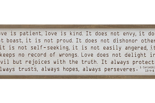 """Love is patient"" Wood Framed Wall Decor"