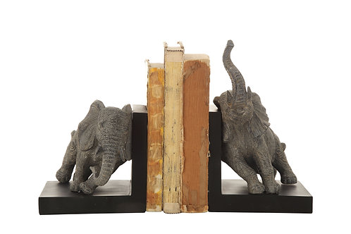 Grey Resin Elephant Bookends (Set of 2 Pieces)