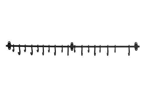 Decorative Forged Metal Wall Rod with 18 Hooks