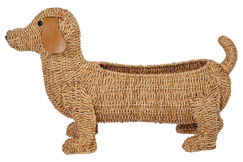 "26""L Handwoven Bankuan Dog-Shaped Basket with Leather Ears"