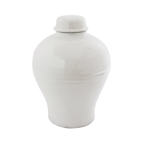 Large Round White Terracotta Cachepot