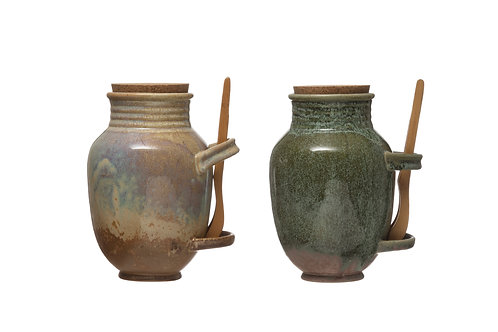 Vintage Reproduction Stoneware Olive Jar (Set of 2 Colors/Each one will vary)