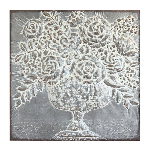 Square Metal Floral Bouquets Wall Decor
