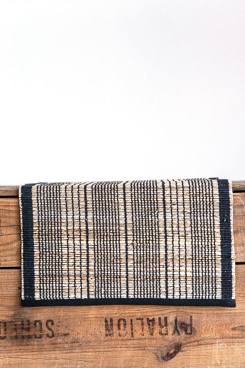 Tan Banana Leaf Table Runner with Black Cotton Stripes