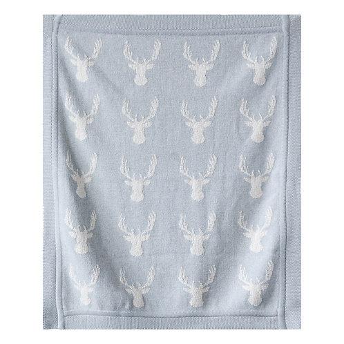 Grey Cotton Knit Deer Blanket