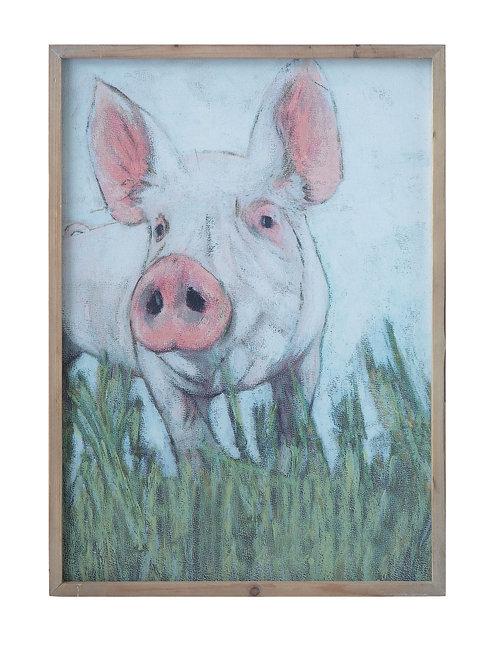 Pig on Canvas Wood Framed Wall Decor