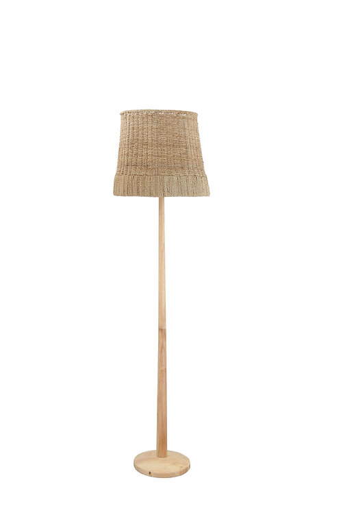 Wood Floor Lamp with Hand-Knit Hemp Rope Shade
