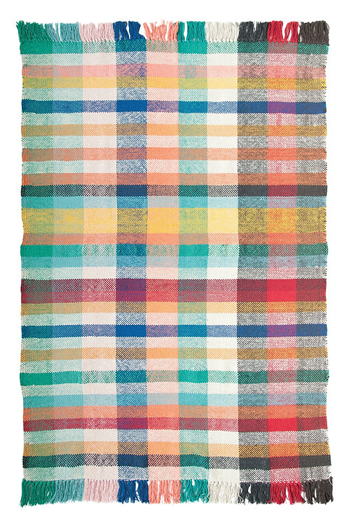 4' x 6' Multicolor Plaid Madras Cotton Woven Dhurrie Rug with Fringe