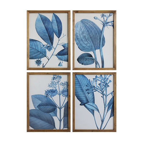 Wood Framed Blue Botanical Wall Decor (Set of 4 Designs)
