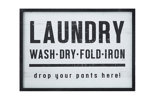 """Laundry, drop your pants here!"" Wood Framed Wall Decor"