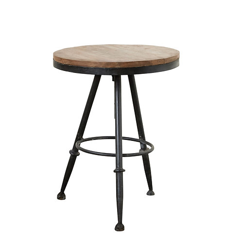 Wood & Metal Round Side Table