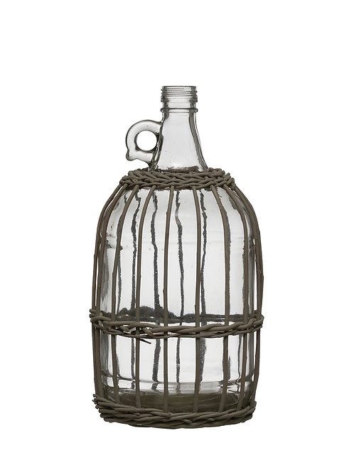 "12.25"" Glass Bottle in Woven Bamboo Sleeve"