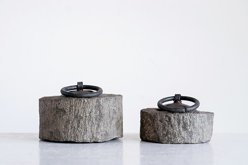 Found Millstone Door Stop with Metal Handle (Each one will vary)