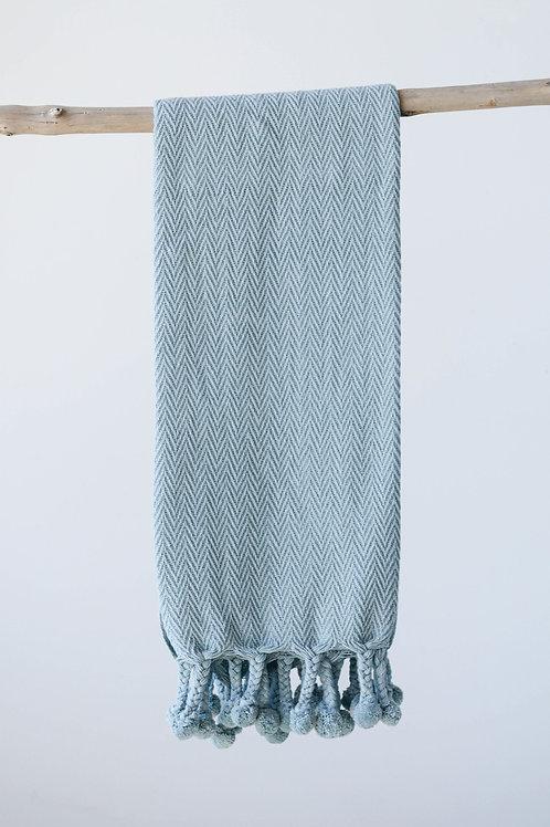 Blue Cotton Throw with Pom Poms