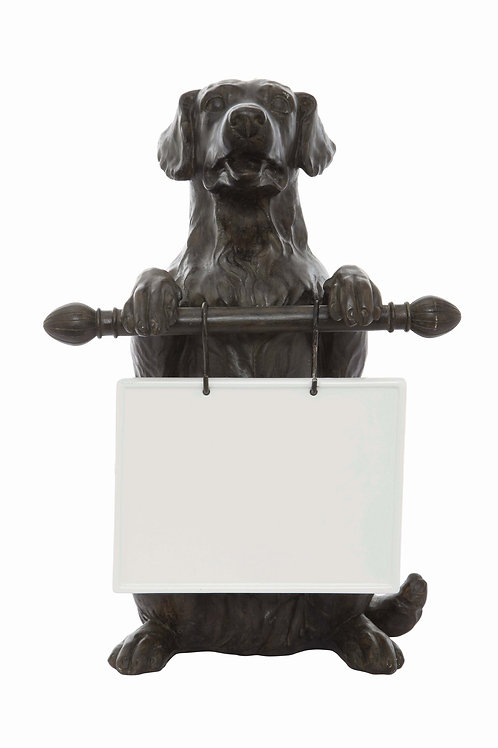 Dog Holding Message Board
