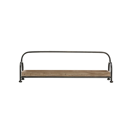 Rectangle Brown Wood Tray with Black Metal Stand
