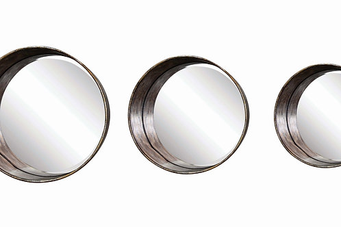 Round Metal Framed Mirrors (Set of 3 Sizes)