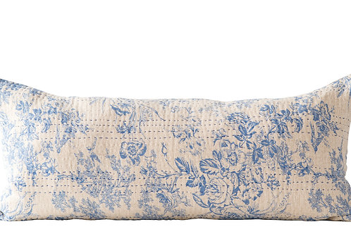 Blue Rectangle Cotton Chambray Pillow with Toile Pattern & Kantha Stitch