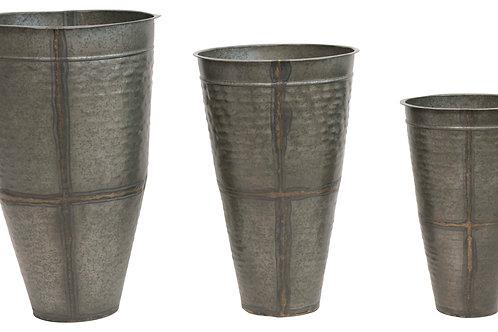 "Galvanized Metal Planters (Set of 3 Sizes/Hold 12"", 16"" & 19"" pots)"