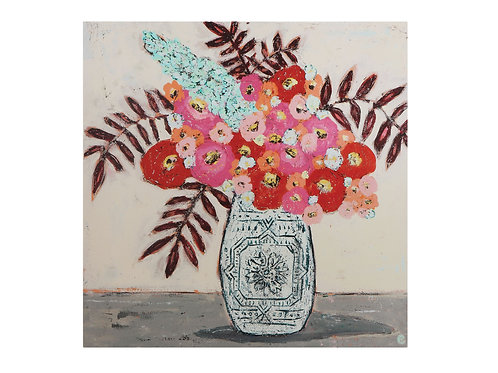 Red & Pink Flowers in Vase Canvas Wall Decor