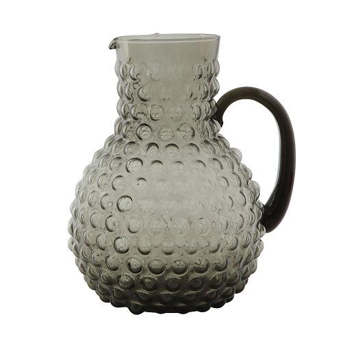 Large Transparent Smoke Grey Hobnail Glass Pitcher