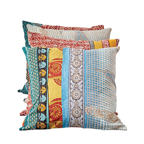 Vintage Multicolor Cotton Quilt Kantha Pillow (each one will vary)