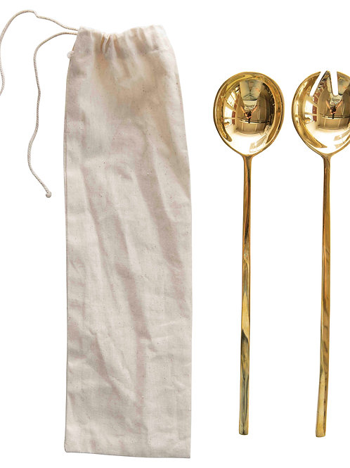 Brass Salad Servers with Rectangle Handles & Smooth Finish (Set of 2 Pieces)