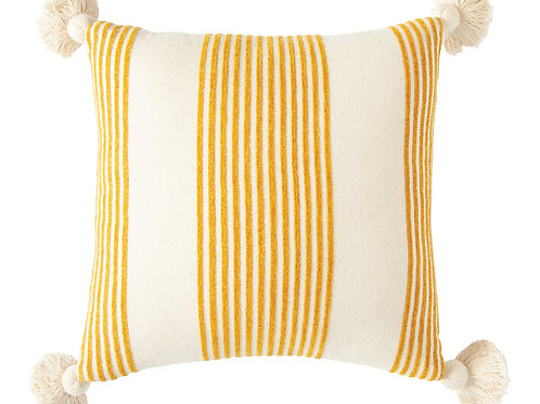 Cream Cotton & Chenille Pillow with Mustard Stripes & Tassels