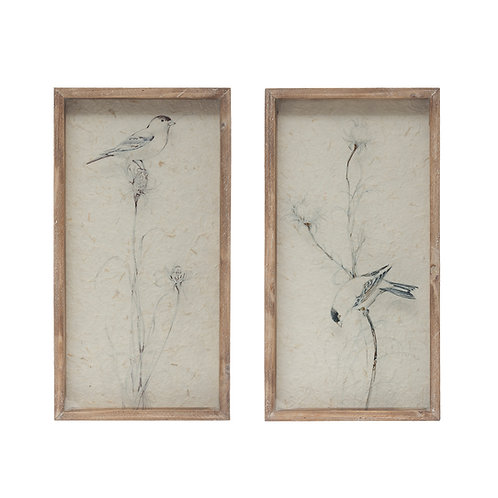 Bird on Glass Wall Decor with Shadowbox Wood Frame (Set of 2 Styles)