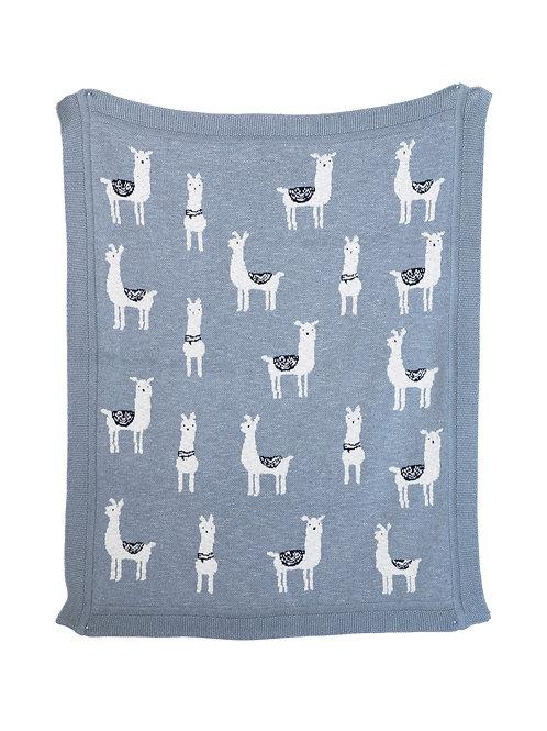 Grey Cotton Knit Llama Blanket