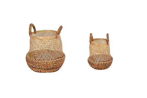 """11"""" & 15"""" Handwoven Bamboo Baskets with Handles (Set of 2 Sizes)"""