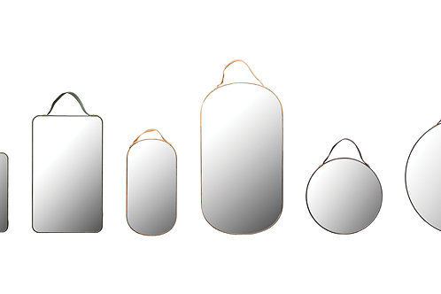 Velvet Edged Wall Mirrors with Hangers (Set of 6 Sizes/Colors)