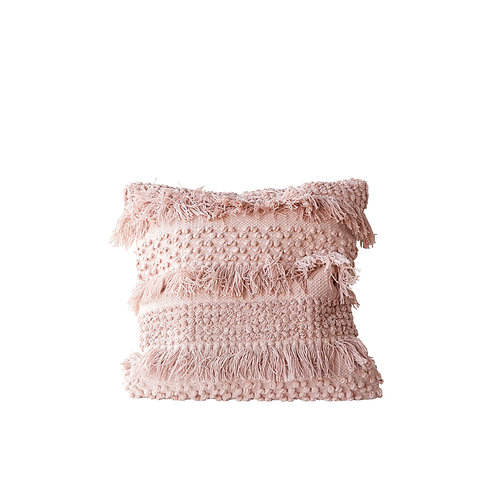 Square Pink Pillow with Fringe and Multiple Designs with Varied Textures