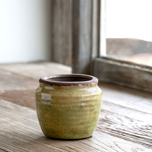 Chartreuse Glazed Ginger Jar, Small