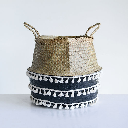 Beige & Black Natural Seagrass Collapsible Basket with Handles & White Tassels
