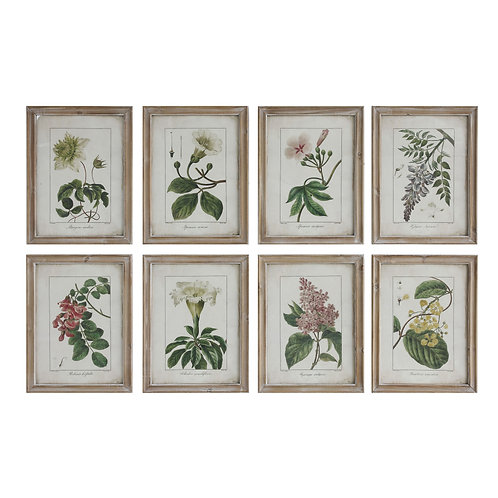 Wood Framed Wall Decor with Floral Image Reproductions (Set of 8 Designs)