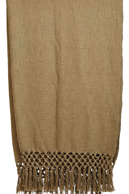 """50""""L x 60""""W Woven Cotton Throw with Crochet & Fringe"""