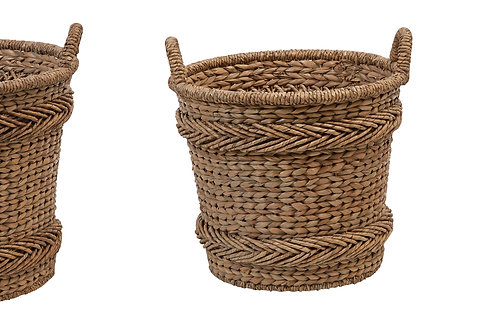 Woven Water Hyacinth & Rattan Baskets with Handles (Set of 3 Sizes)