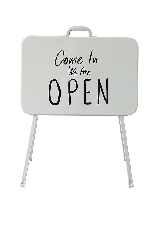 Collapsible White & Black Metal Double Sided Sign