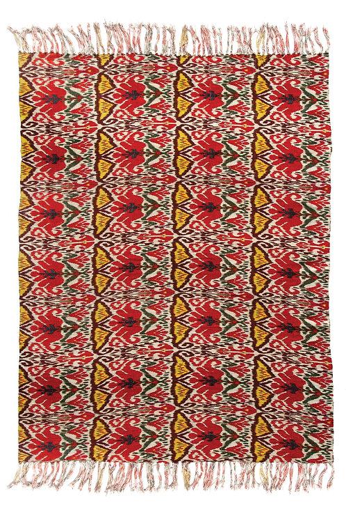 Multicolor Ikat Print Slub Throw with Fringe