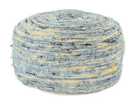 Heavily Distressed Blue Cotton Pouf with Black & Mustard Accents