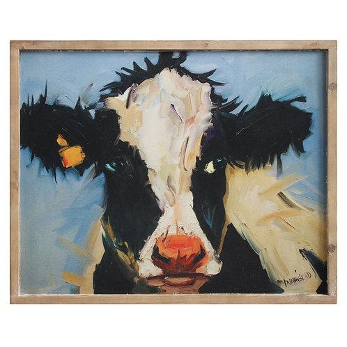 Wood Framed Cow Wall Art