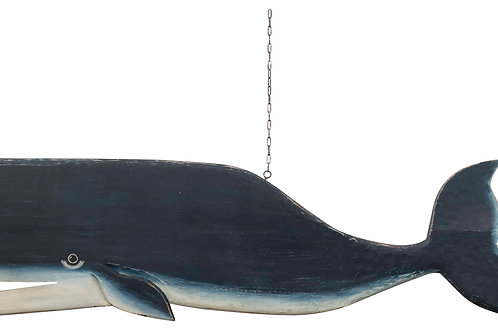 Hand-Carved & Hand-Painted Mango Wood 2-Sided Whale Wall Decor