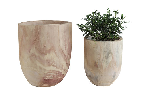 Rounded Paulownia Wood Pots (Set of 2 Sizes)