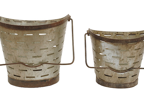 Distressed Metal Olive Buckets with Handles (Set of 2 Sizes)