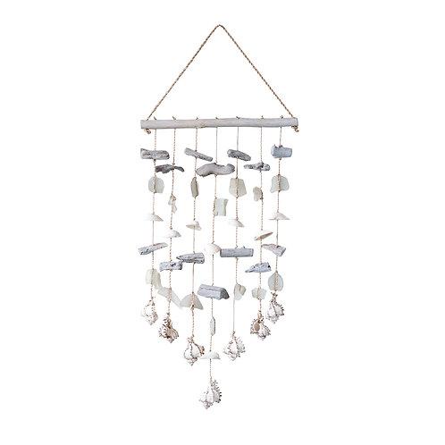 Driftwood Wall Decor with Shells & Sea Glass Beads